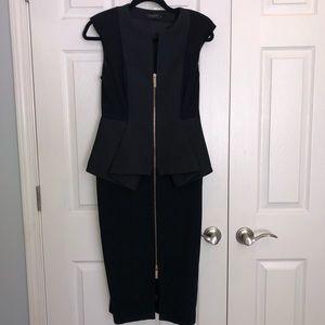 24c30b9a321d96 BRAND NEW TED BAKER MIDI PEPLUM ZIPPER FRONT DRESS